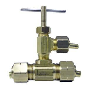 3/8 in. OD Compression Brass Valve Fitting