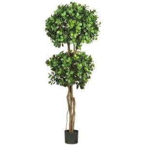 5.5 ft. Green Eucalyptus Double Ball Topiary Silk Tree