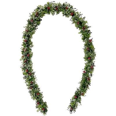 9 ft. Artificial Frosted Faux Boxwood Garland with Red Berries