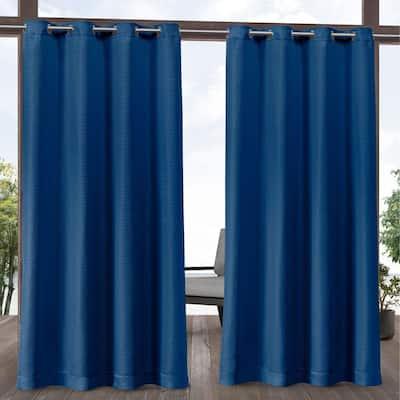 Aztec Azure 54 in. W x 84 in. L Grommet Top, Indoor/Outdoor Curtain Panel (Set of 2)