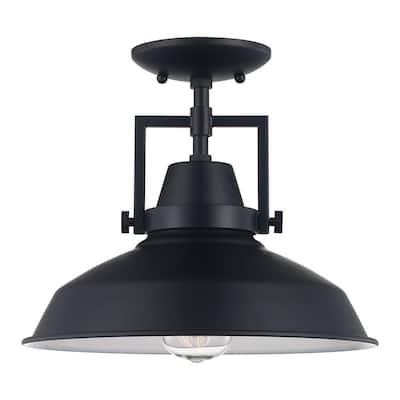 12 in. Monteaux 1-Light Black Semi- Flush Mount