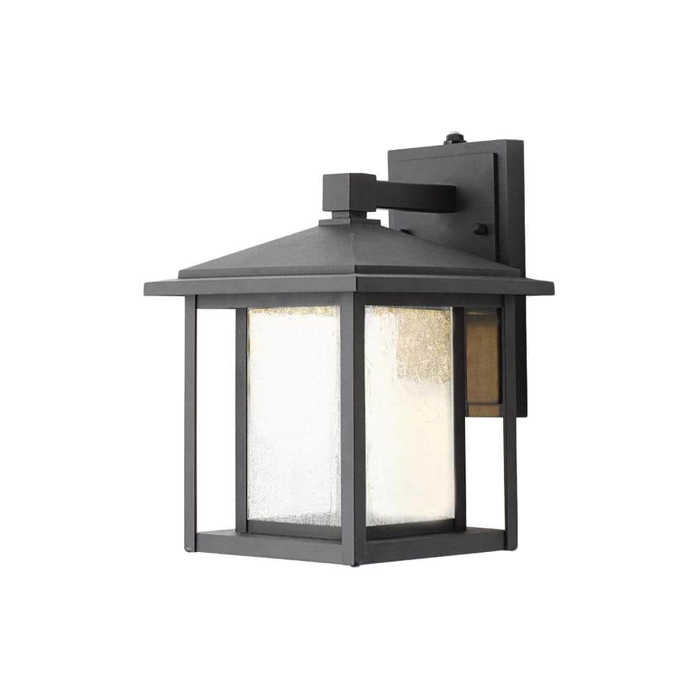Home Decorators Collection Mauvo Canyon Collection Black Outdoor Seeded Glass Dusk To Dawn Wall Lantern Sconce Kb 06304 Del The Home Depot