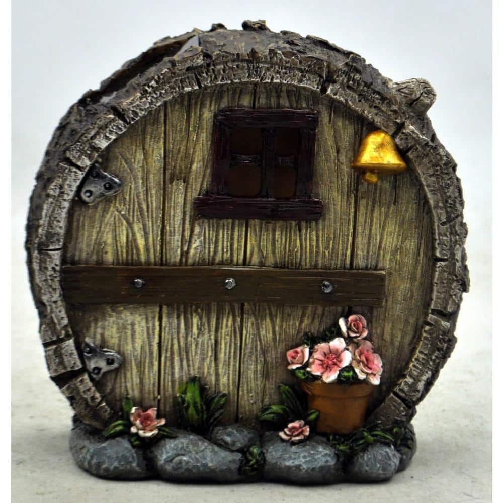 Moonrays Solar Powered Integrated Led Round Log Gnome House Outdoor Landscape Garden Light 90057sp The Home Depot