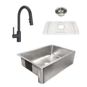 Percy All-in-One Brushed Stainless-Steel 32 in. Single Bowl Farmhouse Apron Kitchen Sink with Pfister Faucet and Drain