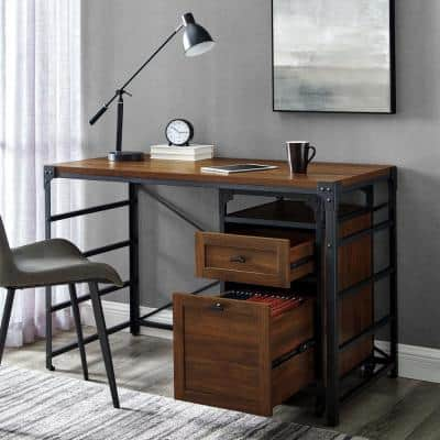 48 in. Rectangular Dark Walnut Wood and Metal Writing Desk with Rolling Filing Cabinet