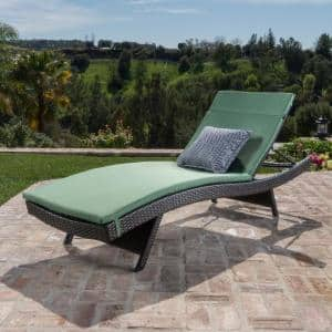 Miller Multi-Brown Armless Wicker Outdoor Chaise Lounge with Jungle Green Cushion