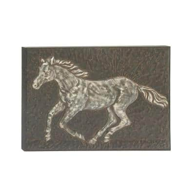 38 in. x 26 in. Amazing Animals Gray Iron Horse Wall Art