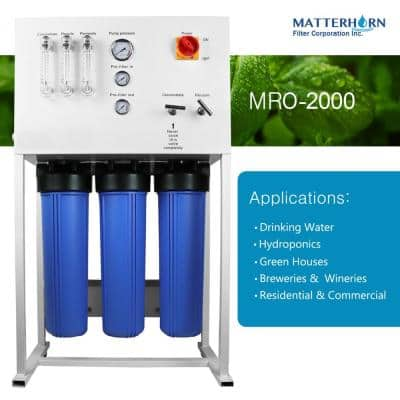 Commercial Reverse Osmosis System for Drinking Water and Hydroponics Applications, 2,000 GPD