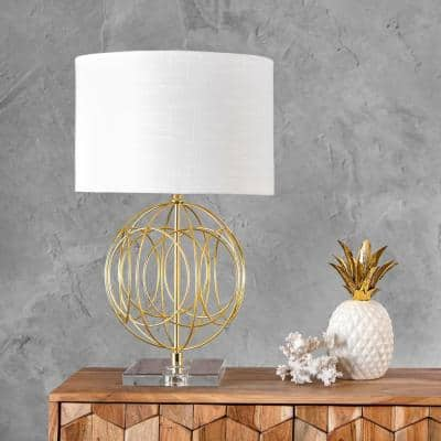 Toccoa 25 in. Gold Modern Table Lamp with Shade