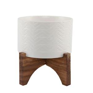 Mid-Century 5 in. Matte White Wavy Ceramic Pot on Wood Stand Planter