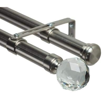 72 in. Non-Adjustable 1-1/8 in. Double Window Curtain Rod Set in Stainless with Gemstone Finial