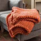 Coral Acrylic Chunky Knitted Throw