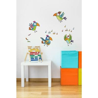 """(35.8 in x 26.2 in) Multi-Color """"Parrots"""" Kids Wall Decal"""