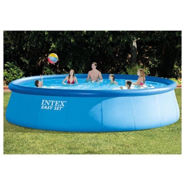 Intex 18 Ft W X 48 In H X 48 In D Inflatable Easy Set Pool With Ladder Pump And Winterizing Kit 26175eh Qlc 57610 The Home Depot