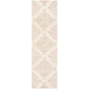 Glamour Ivory/Beige 2 ft. x 8 ft. Floral Runner Rug