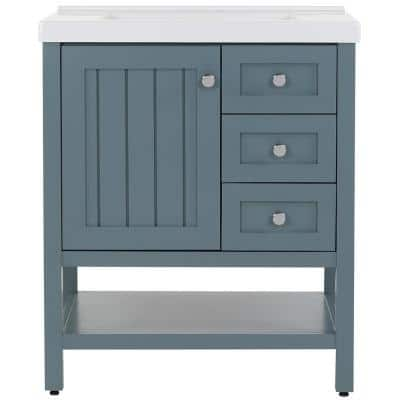 Lanceton 31 in. W x 22 in. D Bath Vanity in Sage with Cultured Marble Vanity Top in White with White Sink