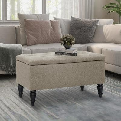 29 in. W x 17 in. D x 17 in H Beige Fabric Upholstered Flip Top Storage Bench with Turn Solid Wood Legs
