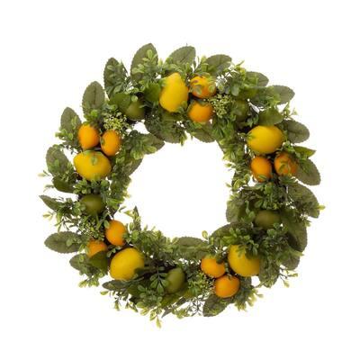 22 in. D Artificial Greenery Lemon Wreath