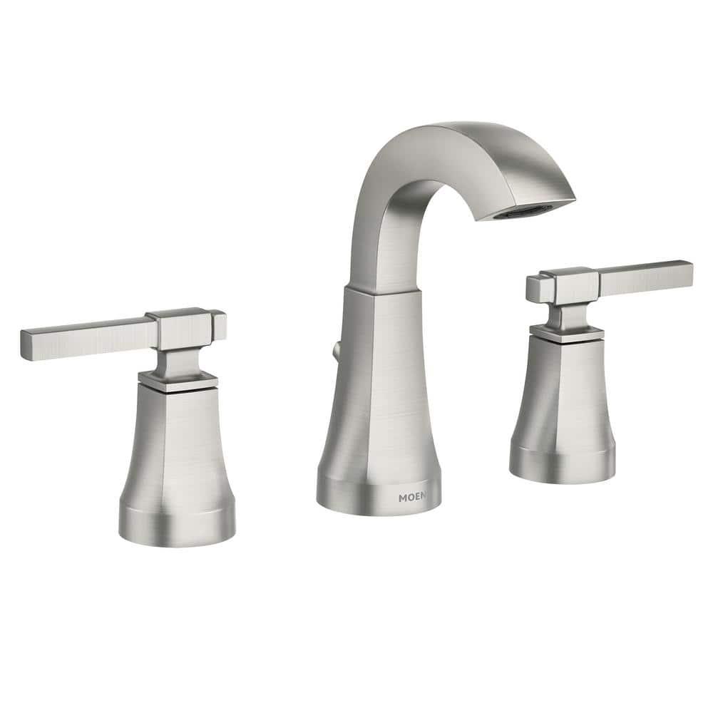 moen ayda 8 in widespread 2 handle bathroom faucet in spot resist brushed nickel 84748srn the home depot