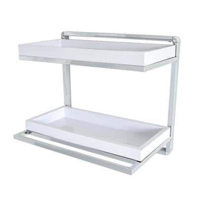 Mindy 16 in. Chrome and White ABS Towel Rack and Double Decorative Wall Shelf
