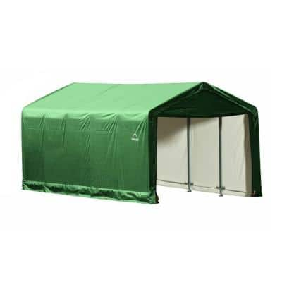 12 ft. W x 25 ft. D x 11 ft. H ShelterTube Steel and Polyethylene Garage without Floor in Green with Waterproof Fabric