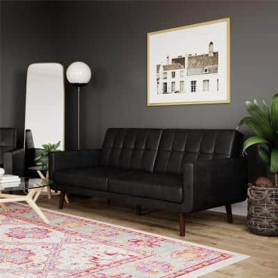 Fay Black Faux Leather Upholstered Modern Futon