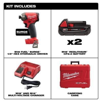 M18 FUEL SURGE 18-Volt Lithium-Ion Brushless Cordless 1/4 in. Hex Impact Driver Compact Kit w/(2) 2.0Ah Batteries, Case