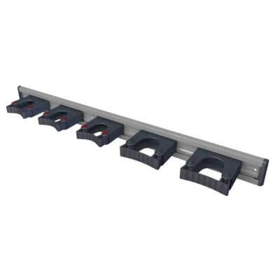 36 in. Black Garage Garden and Sports Tool Organizer with 5 Wall Mounted Adjustable Tool Holders