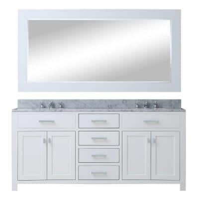 60 in. W x 21 in. D Vanity in White with Marble Vanity Top in Carrara White, Mirror and Chrome Faucets