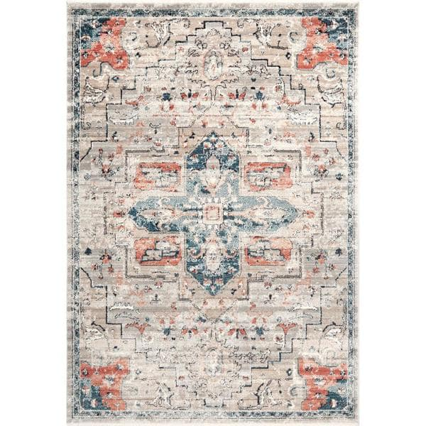 Stylewell Janessa Croix Medallion Blue 5 Ft X 7 Ft Area Rug Kkdl03a 5307 The Home Depot