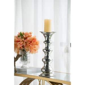 14.8 in. H Silver Glass Pillar Candle Holder