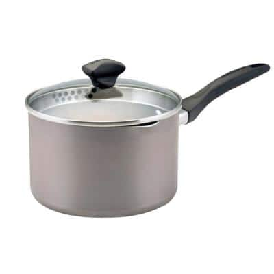 Dishwasher Safe 3 qt. Aluminum Nonstick Sauce Pan in Champagne with Glass Lid