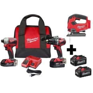 M18 18-Volt Lithium-Ion Brushless Cordless Hammer Drill/Impact/Jig Saw Combo Kit (3-Tool) with 4-Batteries