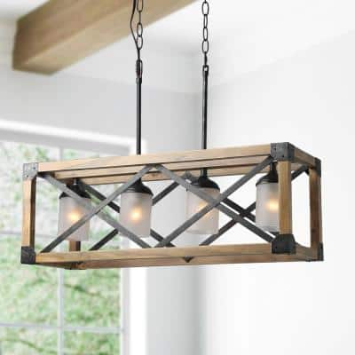 Mari 4-Light Aged Wood and Rusty Black Metal Island Chandelier with Frosted Glass Shades