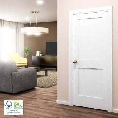 30 in. x 80 in. x 1-3/8 in. Shaker White Primed 2-Panel Solid Core Wood Interior Slab Door