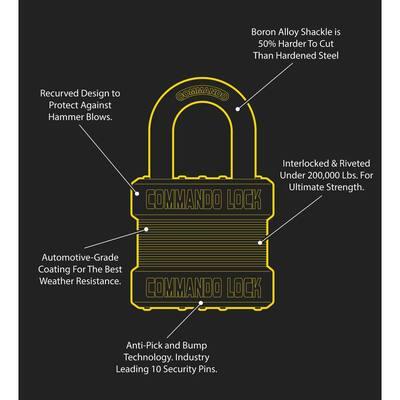 Heavy Duty Steel Keyed 2-Bumper 1-3/4 in. Keyed Padlock W 1-1/8 in. Alloy Shackle High Security Storage Lock (4-Pack)