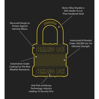 Blackout High Security 1-3/4 in. Keyed Padlock Outdoor Weather Resistant Military-Grade W 1-1/8in. Alloy Shackle