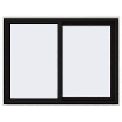 48 in. x 36 in. V-4500 Series Black FiniShield Vinyl Right-Handed Sliding Window with Fiberglass Mesh Screen