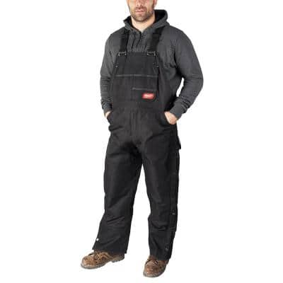 Men's Gridiron Medium Black Zip-to-Thigh Bib Overall