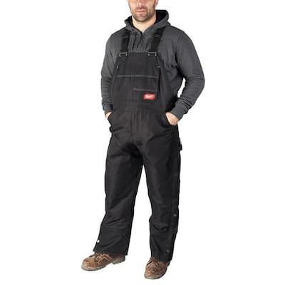 Men's Gridiron Small Black Zip-to-Thigh Bib Overall