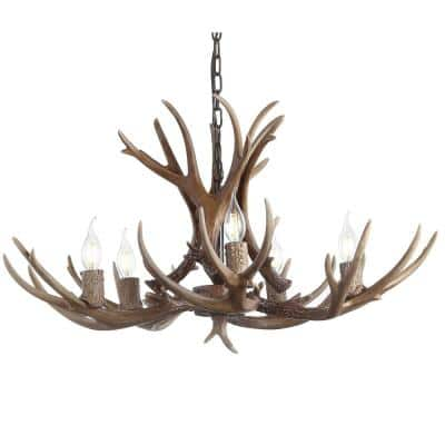 Eldora 30 in. Adjustable Resin Antler 5-Light Brown LED Chandelier