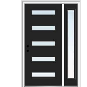 51 in. x 81.75 in. Davina Low-E Glass Right-Hand Inswing 5-Lite Modern Painted Steel Prehung Front Door with Sidelite
