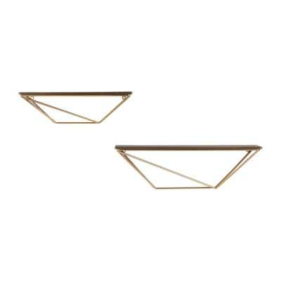 Wood and Gold Metal Wall-Mount Geometric Floating Shelf (Set of 2)