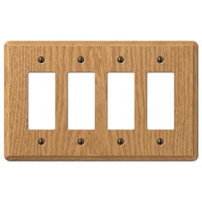 Contemporary 4 Gang Rocker Wood Wall Plate - Light Oak
