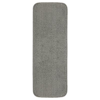 Softy Gray 9 in. x 26 in. Rubber Back Stair Tread Cover (Set of 5)
