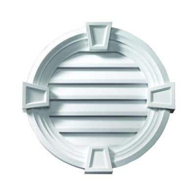 33.25 in. x 33.25 in. Round White Polyurethane Weather Resistant Gable Louver Vent