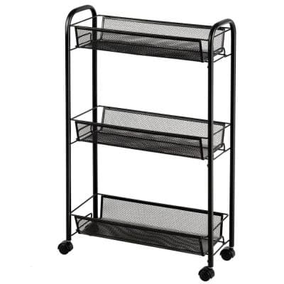3-Tier Mesh Rolling Cart Mobile Organizer Stand Utility Cart Trolley in Black