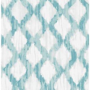 Teal Floating Trellis Blue Wallpaper Sample