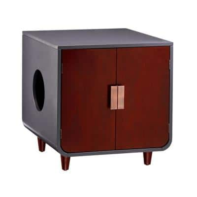 Dyad Wooden Cat Litter Box - Mocha Walnut