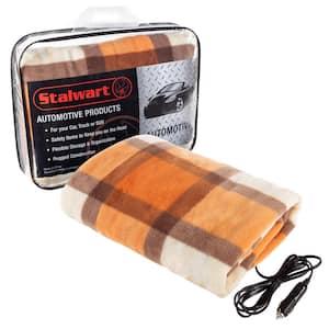 12-Volt Polar Fleece Electric Car Throw Blanket in Orange